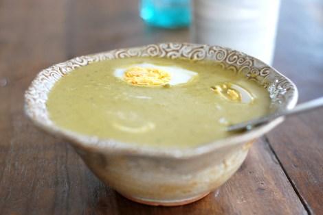 Sopa de espinafre e abobrinha