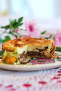 Cheesecake de maça com baunilha e canela